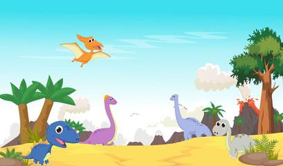 cute dinosaurs cartoon with prehistoric landscape