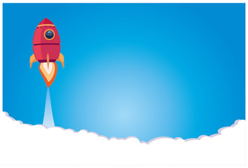 business startup. a rocket blasting off against a blue background. vector