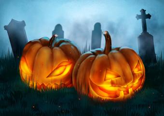 illustration scarecrow, halloween night farm,dark fantasy painting, horror.