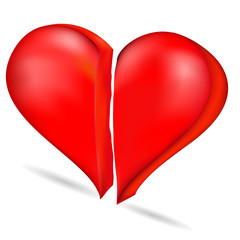 The image of the heart is divided into two halves