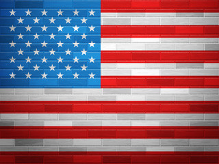 Brick wall USA flag