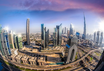 Cityscape of Dubai with modern futuristic architecture , United Arab Emirates
