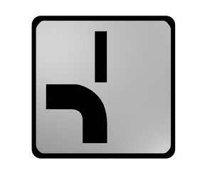 Deutsches Verkehrszeichen: abknickende Vorfahrt