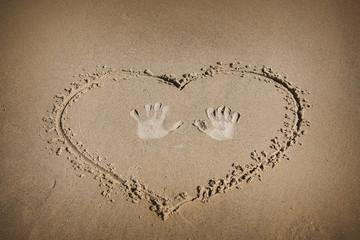 Sign on the sand beach