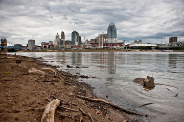 Gloomy skies over the city of Cincinnati Ohio