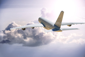 3D Illustration of a  plane in the clouds