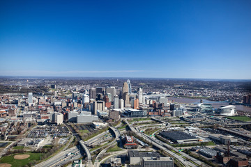 Cincinnati Ohio Aerial View from the North West