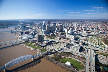 Cincinnati Ohio Aerial View from the South East