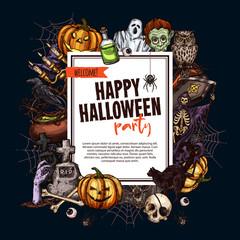 Halloween sketch monsters vector party poster