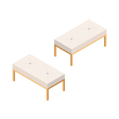 Bedside Sofa. Bedroom Bench in Isometric View. Low Light Couch Isolated from Background.