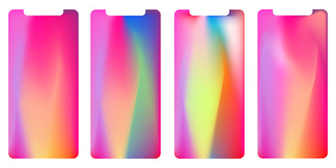 Vector phone x wallpaper collection. Editable gradient mesh masked into phone shape. Isolated on background white