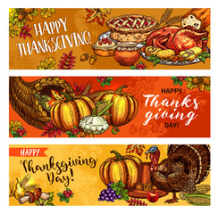 Thanksgiving day vector greeting banners sketch