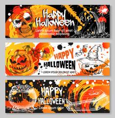 Halloween vector sketch banners trick or treat