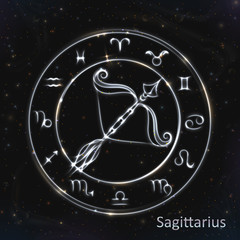 Silver vector zodiac sign with neon brushes Sagittarius