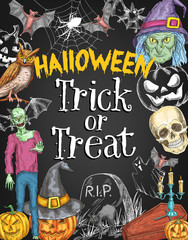 Halloween holiday trick treat vector sketch poster