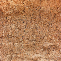Dry, Cracking Clay Soil in Extreme Closeup