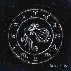 Aquarius Silver vector zodiac sign with neon brushes. 12 astrology zodiacs