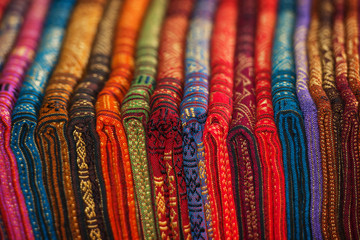 Row of Silk Scarves in a Shop in Laos