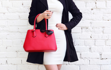 Fashion young woman in coat dress and red handbag. Autumn