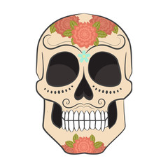Colored Day of The Dead Sugar Skull with ornament. Vector illustration.