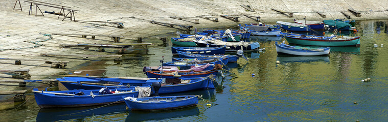 Boats moored at tourist port of Bisceglie, Apulia