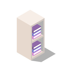 wardrobe with shelves for document storage, shelves with books, interior items for home and office isometric