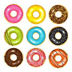 Set of sweets donuts sugar glazed. Vector fries pastry doughnut icons with holes isolated on white background. Dessert donut round illustration.