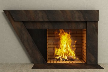 Triangle fireplace in home interior
