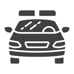 Police car glyph icon, transport and automobile, cop sign vector graphics, a solid pattern on a white background, eps 10.