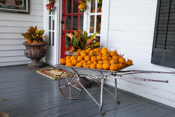 White And Grey Porch Wth Fall Pumpkin Decor By Red Door