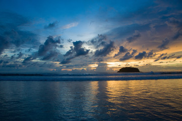 Colorful sunset on Kata beach in Thailand
