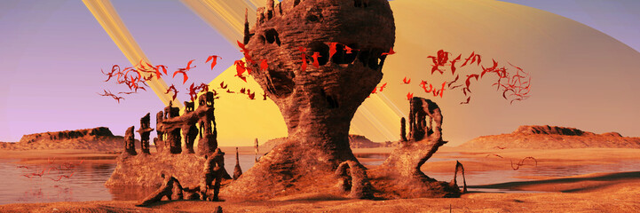 alien planet landscape, flying red creatures swarming around mysterious rock formations at sunrise