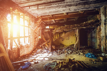 Inside ruined abandoned house building after disaster, war, earthquake, Hurricane or other natural cataclysm Fotomurales
