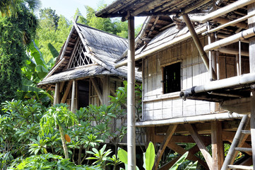 reproduction of a Laos house in the Anduze bamboo plantation