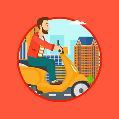 A hipster man with the beard riding a scooter on a city background. Young man driving a scooter in the street. Vector flat design illustration in the circle isolated on background..