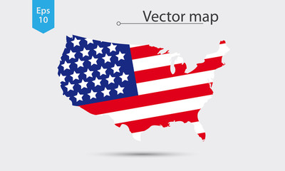 Simple Map Silhouette Of USA With Flag. Vector Illustration