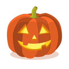 Halloween orange pumpkin in flat style isolated on white background. Traditional halloween symbol. Cute spooky character. Element for your celebration design. Vector eps 10.