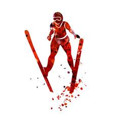 Vector watercolor silhouette ski jumper