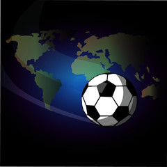 Football ball. The ball is flying around the world. Vector illustration.
