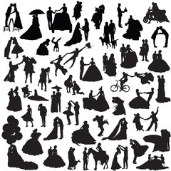 Wedding couples. Set of silhouettes.