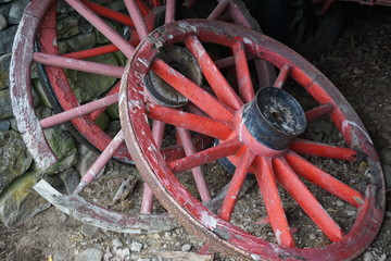 Vintage red wagon wheels