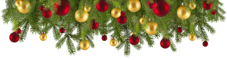 Christmas Garland With Ornaments Isolated Buy This Stock Photo And