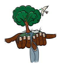 Hands cupped holding earth with an oak tree growing from it, a dove flying overhead.