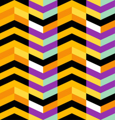 Atzec background, seamless repeating vector pattern in Halloween colors. Super colorful and bright, high contrast.