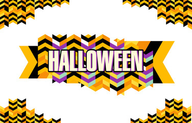 Halloween party decorations vector set: corners and label with text, super colorful, isolated on white background.