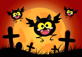 Happy bats with orange full moon background. halloween concept vector illustration.