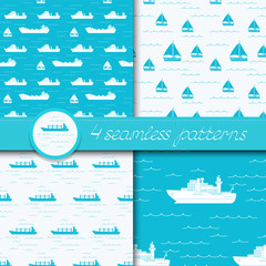 Vector set of four seamless patterns with ships.