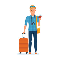 Traveler character with luggage, documents, accessories, is going on journey.