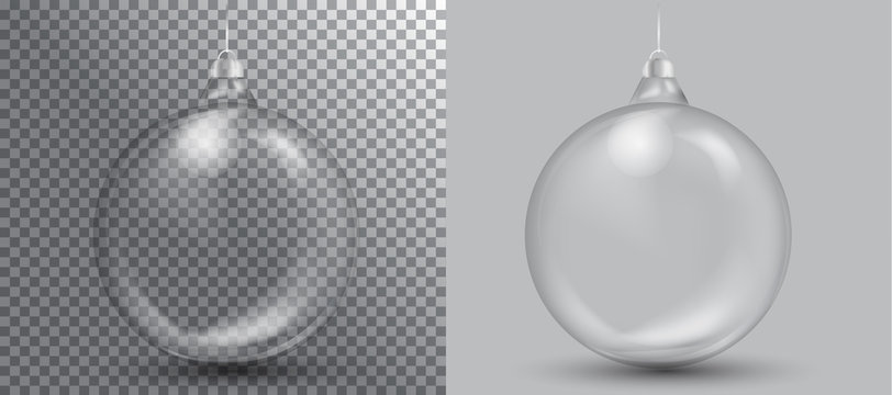 Xmas and happy new year glass ball on transparent background.vector illustration