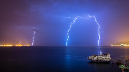 Red Sea Lighting Storm - Eilat Israel